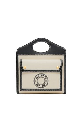 Mini Logo Graphic Canvas and Leather Pocket Bag