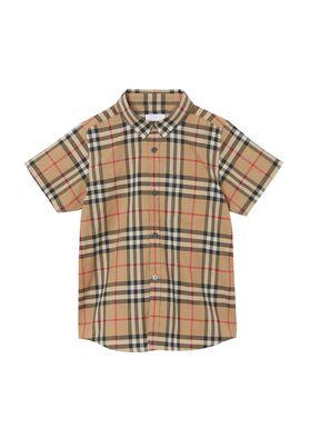 Short-sleeve Vintage Check Cotton Shirt, , hi-res