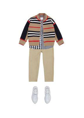 Icon Stripe Detail Cotton Twill Drawcord Trousers, , hi-res