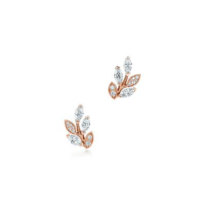 Tiffany Victoria® diamond vine earrings in 18k rose gold, small