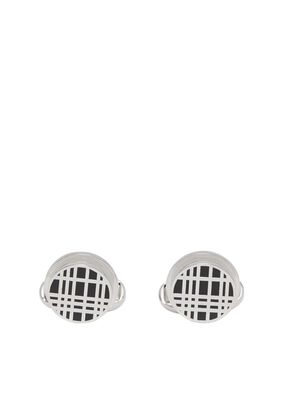 Check Detail Palladium-plated Cufflinks