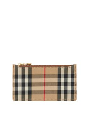 Vintage Check and Leather Zip Card Case