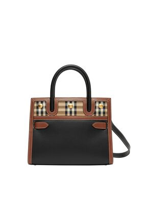 Mini Leather and Vintage Check Two-handle Title Bag