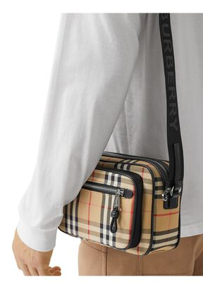 Vintage Check and Leather Crossbody Bag, , hi-res