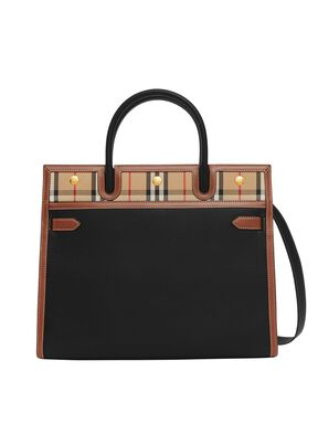 Medium Leather and Vintage Check Two-handle Title Bag, , hi-res