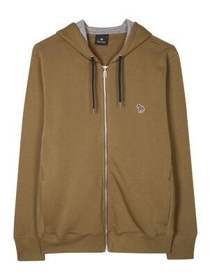 Men's Khaki Green Organic Cotton Zip-Front Zebra Logo Hoodie, , hi-res