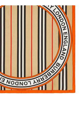 Icon Stripe and Logo Graphic Silk Small Square Scarf