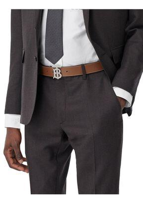 Monogram Motif Topstitched Leather Belt, , hi-res
