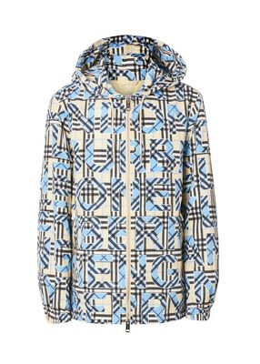 Vintage Check Logo Print Hooded Jacket