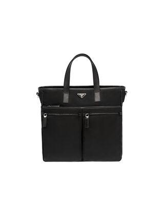 Nylon and Saffiano Leather Tote