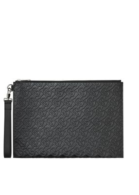 Large Monogram Leather Zip Pouch