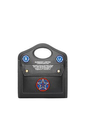 Mini Badge Appliqué Leather Pocket Bag
