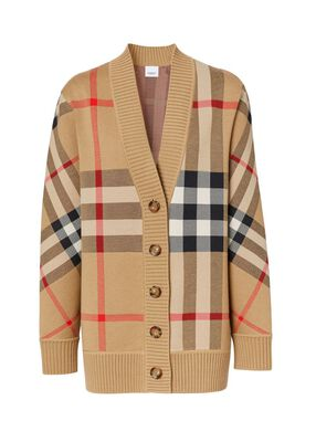 Check Technical Merino Wool Jacquard Cardigan