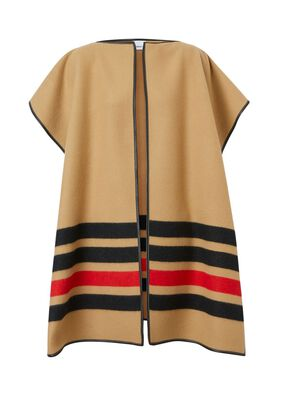 Stripe Detail Wool Cashmere Cape