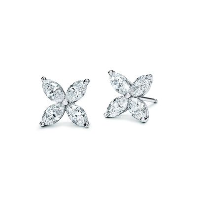 Tiffany Victoria® earrings in platinum with diamonds