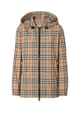 Vintage Check Recycled Polyester Hooded Jacket