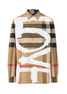 Love Print Check Stretch Cotton Oversized Shirt