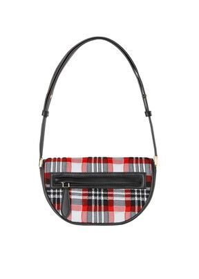 Mini Knitted Tartan and Leather Olympia Bag, , hi-res