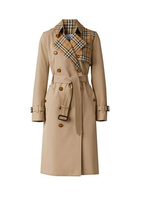 Vintage Check Panel Cotton Gabardine Trench Coat