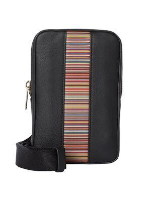 Black Leather 'Signature Stripe' Neck Pouch