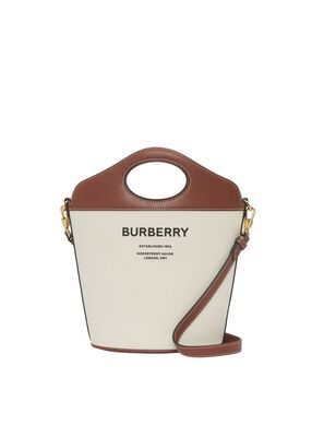 Small Two-tone Canvas and Leather Pocket Bucket Bag