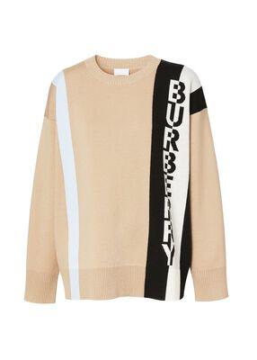 Logo Merino Wool Blend Jacquard Sweater