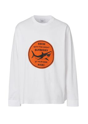 Long-sleeve Shark Graphic Cotton Top