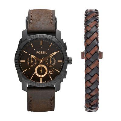 Gt Watch Machine Black Brown Leather