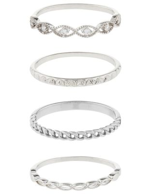 Platinum-Plated Sparkle Stacking Ring Set