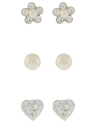 Sterling Silver Flower, Heart and Pearl Earring Set, , hi-res
