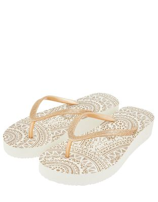 Eva Gold Wedge Flip Flops