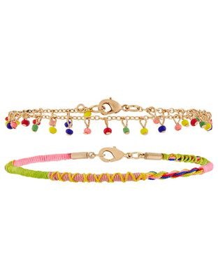 Bright Thread and Chain Anklet Set