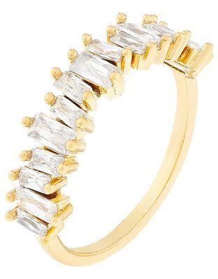 Gold-Plated Baguette Gem Ring
