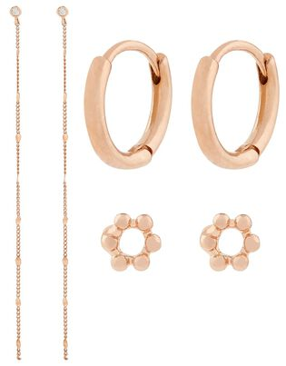Rose Gold-Plated Curated Earring Set, , hi-res