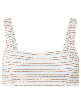Textured Bikini Top with Striped Print