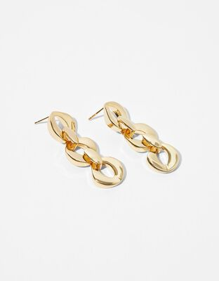 Gold-Plated Oval Chain Drop Earrings
