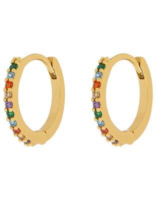 Gold-Plated Rainbow Gem Huggie Hoop Earrings
