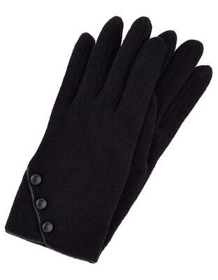 Button Cuff Gloves in Wool Blend