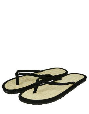 Plain Black Seagrass Flip Flops