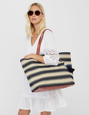 Nautical Stripe Beach Tote Bag
