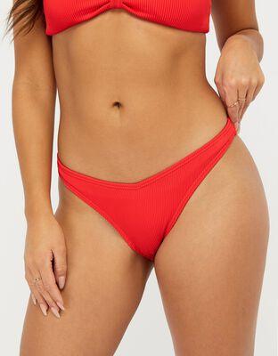 Basic Ribbed V Bikini Briefs