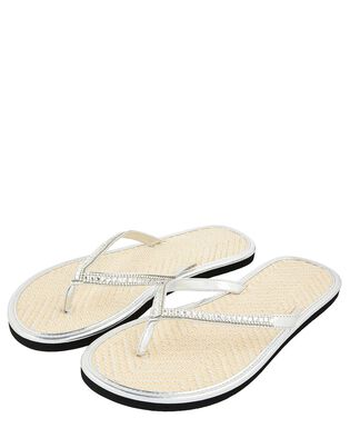 Crystal Flip Flops with Seagrass Footbeds, , hi-res