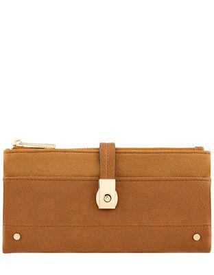 Push-Lock Faux Leather Wallet