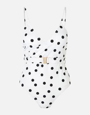Polka-Dot Swimsuit with Waist Belt