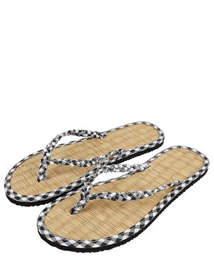 Gingham Plait Seagrass Flip-Flops