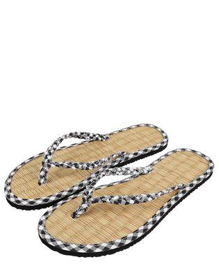 Gingham Plait Seagrass Flip-Flops, , hi-res