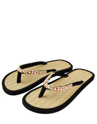 Beaded Seagrass Flip-Flops