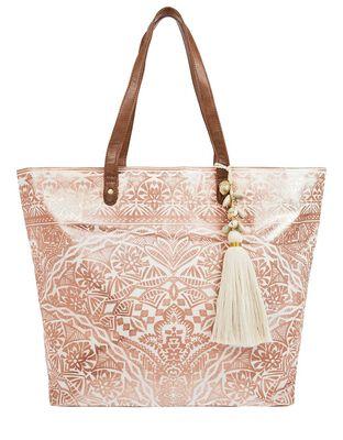 Kea Metallic Print Beach Tote Bag