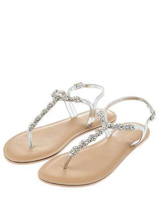 Reno Silver Embellished Sandals, , hi-res