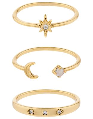 Gold-Plated Celestial Stacking Ring Set